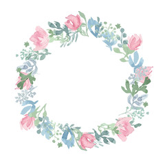 Watercolor hand drawn wreath.