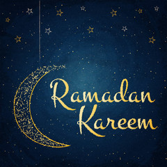 Ramadan Kareem background with moon and stars on blackboard