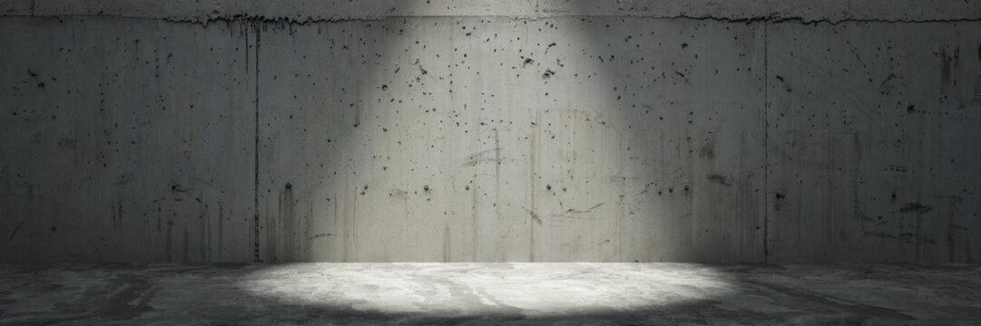 concrete wall with spotlight as panorama