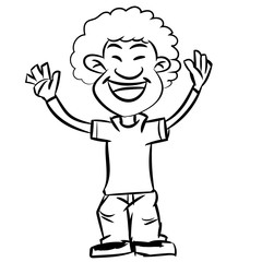 Line drawing a cartoon of smiling afro boy, and-drawn teen make hands up in black and white, Vector illustration.