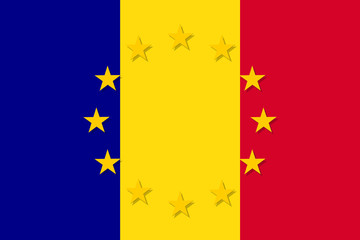 Romania national flag with a circle of European Union twelve gold stars, ideals of unity with EU, member since 1 January 2007. Vector flat style illustration