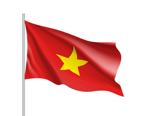 Waving flag of Vietnam. Illustration of Asian country flag on flagpole. Vector 3d icon isolated on white background