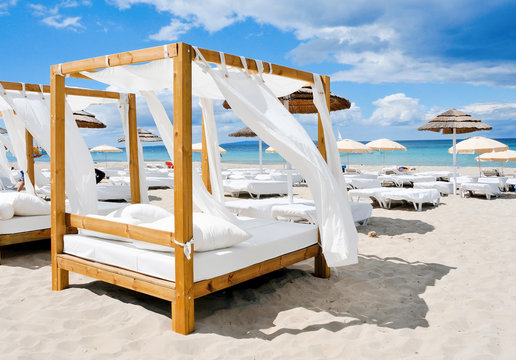 beds in a beach club in Ibiza, Spain