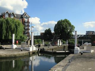 London, United Kingdom - June 1, 2017: Water locks in Brentford Marina, River Brent, Greater London, Brentford, England, United Kingdom,