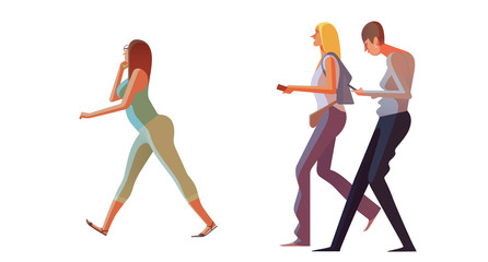Women Walking with Cellphones