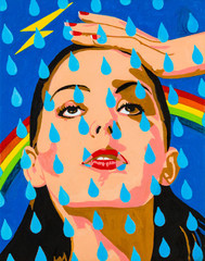 Modern art abstract portrait painting of a beautiful young woman with raindrops and rainbow.
