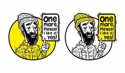 Bearded hipster in a hat points finger up and says one more please yellow set