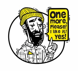 Bearded hipster in a hat points finger up and says one more please yellow