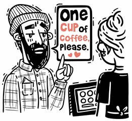 Comic bearded hipster orders one cup of coffee at the checkout counter