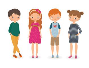 Fashion stylish kids. Cartoon vector illustration