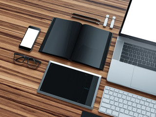 Computer, laptop, digital tablet, mobile phone, virtual headset and newspaper on wooden table. IT concept.