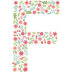 1033951 Vector floral letter F. Vector floral abc. English floral alphabet. Font vector illustration.
