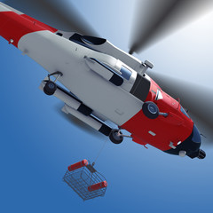 3d illustration of lowering a rescue basket from helicopter in sky.