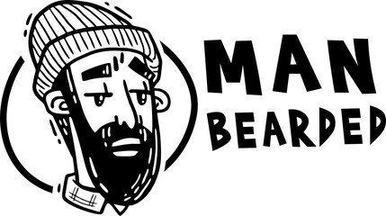 Man bearded hipper logo