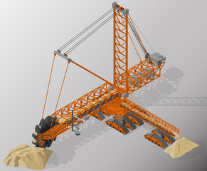 Vector isometric illustration of bucket-wheel excavator, heavy equipment used in surface mining. Equipment for high-mining industry.