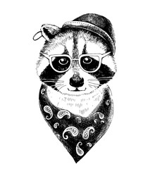 Fototapete - Hand drawn dressed up raccoon hipster