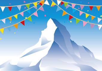 エベレストと旗