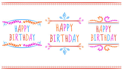 HAPPY BIRTHDAY card templates.. VECTOR labels. Multicolor letters on white.