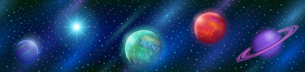 Space Horizontal Seamless Background with Various Fantastic Planets, Moons and Sun. Tile Pattern for Your Web Design. Elements of This Image Furnished By NASA. Eps10, Contains Transparencies. Vector