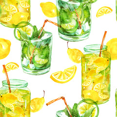 Seamless watercolor pattern with a drink, cocktail with lemon, ice, mojito, smoothies. Fruit lemon, mint leaf, ice. Vintage drawing on white background