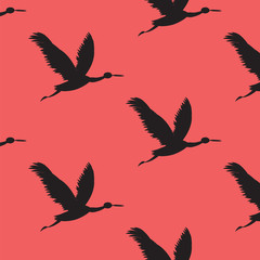 Pattern flying cranes black on red background art creative modern abstract vector illustration