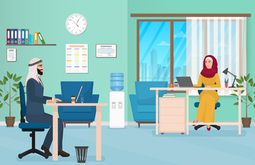 Arab Business People in Office. Muslim Arabic male and female Working on the laptop. Vector Illustration.