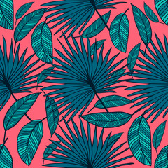 Seamless vector tropical pattern. Tropical color leaves, jungle leaves.