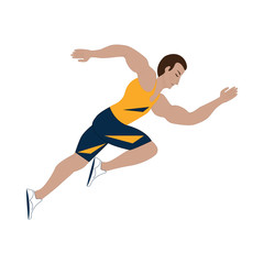 Athlete running isolated on white background art creative vector