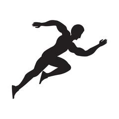 Athlete running silhouette black isolated on white background art creative vector