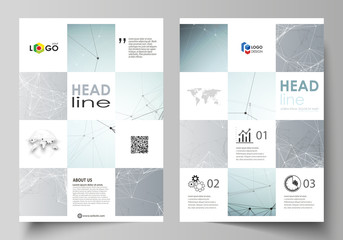 Business templates for brochure, magazine, flyer, booklet. Cover design template, vector layout in A4 size. Chemistry pattern, connecting lines and dots, molecule structure, medical DNA research.