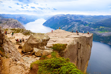 Wall Murals Northern Europe Preachers Pulpit Rock in fjord Lysefjord - Norway