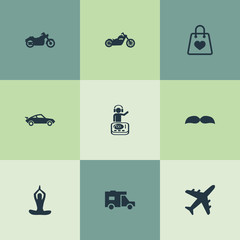 Vector Illustration Set Of Simple Health Icons. Elements Barber, Travel Home, Plane And Other Synonyms Vacation, Aircraft And Male.