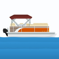 Editable Pontoon Boat Vector Illustration