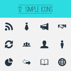 Vector Illustration Set Of Simple Conference Icons. Elements Agreement, Staff, Internet Access And Other Synonyms Handshake, Member And Team.