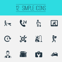 Vector Illustration Set Of Simple Service Icons. Elements Automobile Salon, Builder, Delivery Worker And Other Synonyms Farmer, Telephone And Auto.