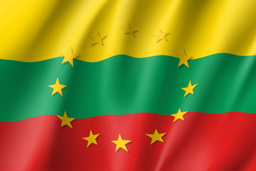 Lithuania national flag with a circle of European Union twelve gold stars, ideals of unity with EU, member since1 May 2004. Realistic vector style illustration