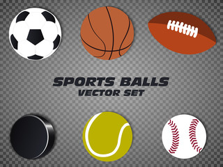 Sports balls vector set. basketball, soccer, tennis, football, baseball, hockey. On a transparent background