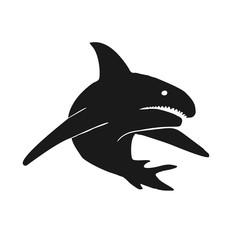 Black shark on isolated white background