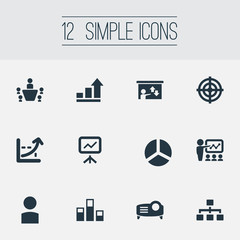 Vector Illustration Set Of Simple Presentation Icons. Elements Analytics, Profile, Goal And Other Synonyms Presentation, Seminar And Growth.