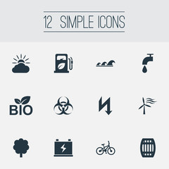 Vector Illustration Set Of Simple Power Icons. Elements Biology Peril, Rush, Leaking Faucet And Other Synonyms Forecast, Supply And Rush.