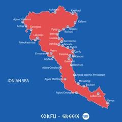 island of corfu in greece red map illustration