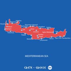 island of crete in greece red map illustration