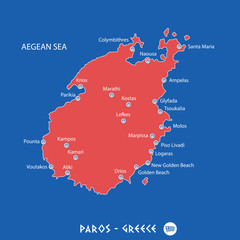 island of paros in greece red map illustration