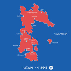 island of patmos in greece red map illustration