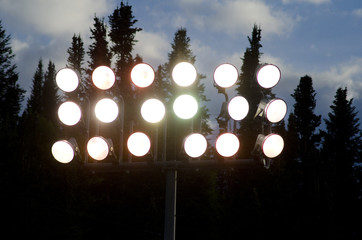 Outdoor Arena Lights at Night