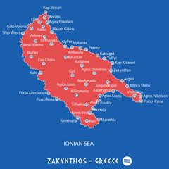 island of zakynthos in greece red map illustration