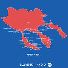 peninsula of halkidiki in greece red map illustration