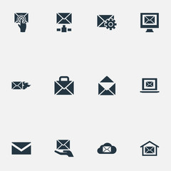 Vector Illustration Set Of Simple Communication Icons. Elements Burn, Sending, Writing And Other Synonyms Settings, Chat And Computer.