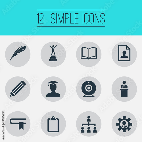 Vector Illustration Set Of Simple Training Icons Elements