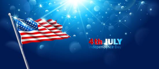 American flag waving in blue sky. Vector